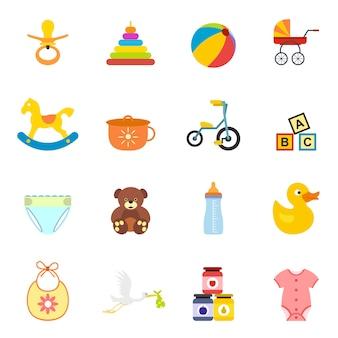 Conjunto de elementos planos para bebé para web y dispositivos móviles.