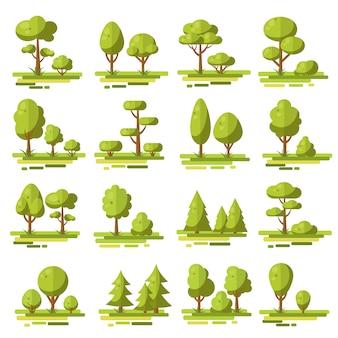 Conjunto de elementos planos de bosque