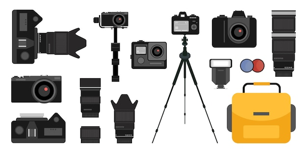 Conjunto de elementos planos dslr, cámara de acción, flash, trípode, lente y caja de herramientas