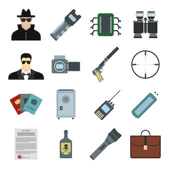 Conjunto de elementos planos de espía para web y dispositivos móviles.