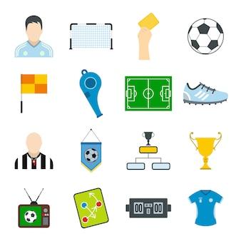 Conjunto de elementos planos de fútbol para web y dispositivos móviles.