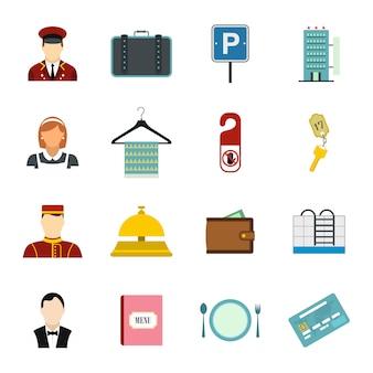 Conjunto de elementos planos de hotel para web y dispositivos móviles.
