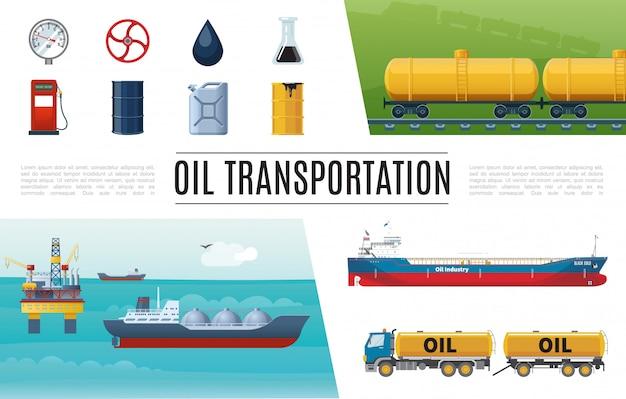 Conjunto de elementos planos de la industria petrolera con camión, estación de servicio, válvula cisterna, manómetro, bidón de barril, tanques de gasolina, plataforma de perforación marina