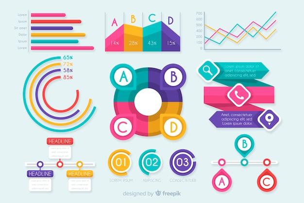 Conjunto de elementos planos de infografía