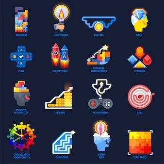 Conjunto de elementos planos de motivación de gamificación