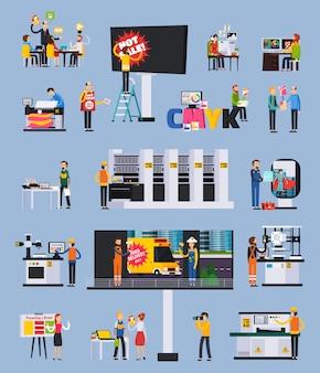 Conjunto de elementos planos ortogonales de producción de agencias de publicidad con diseñadores, proyectos, carteles publicitarios, impresión, instalación, ilustración