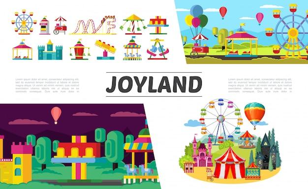 Conjunto de elementos planos del parque de atracciones con noria, niños, coches eléctricos, montaña rusa, globos aerostáticos, boletería, castillo, diferentes atracciones y carruseles