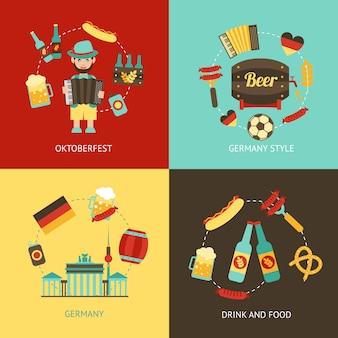 Conjunto de elementos planos de viaje de alemania
