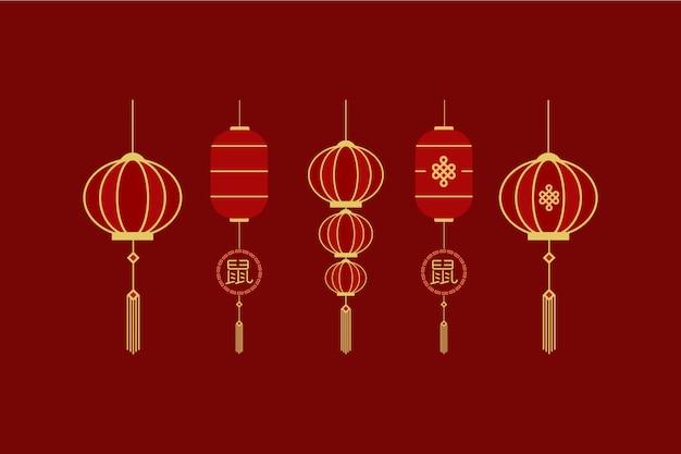 Conjunto de elementos de plantilla de año nuevo chino de lampion imlek