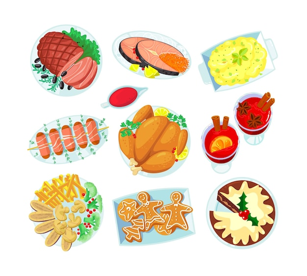 Conjunto de elementos platos navideños vino caliente, carne frita, pavo o pollo y pescado rojo con pastel