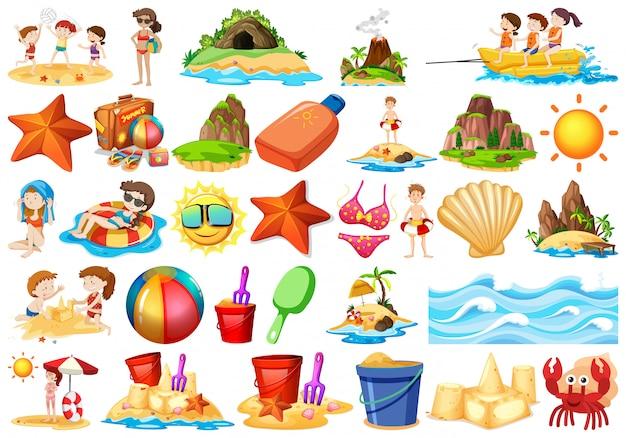 Conjunto de elementos de playa.