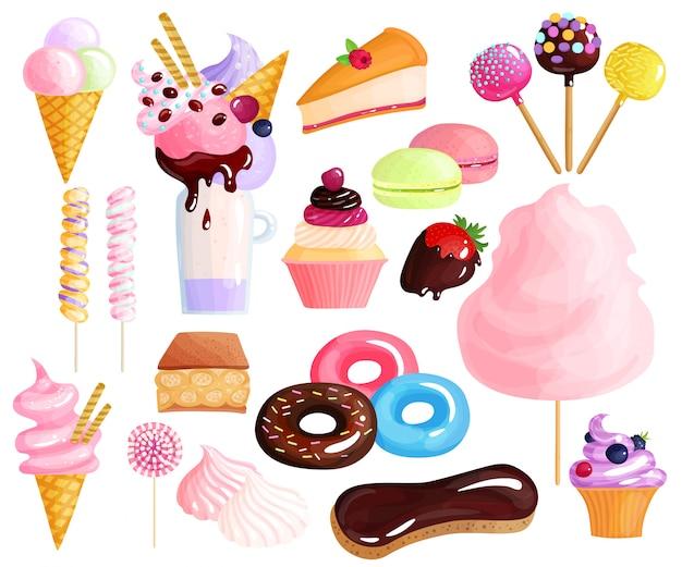 Conjunto de elementos de postres dulces