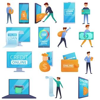 Conjunto de elementos de préstamo en línea, estilo de dibujos animados
