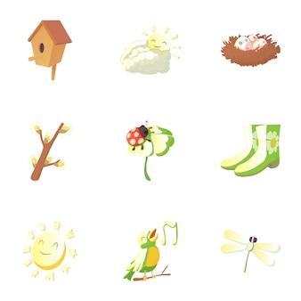 Conjunto de elementos de primavera, estilo de dibujos animados