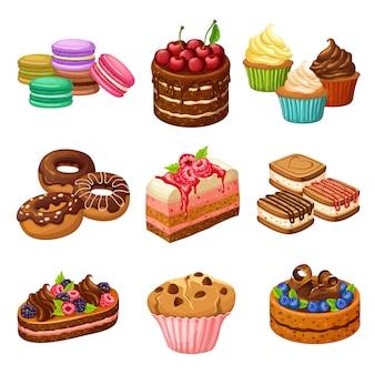 Conjunto de elementos de productos dulces de dibujos animados