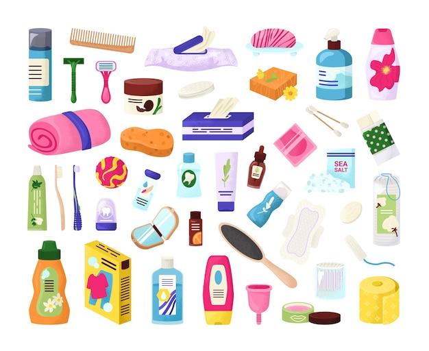 Conjunto de elementos de productos de higiene.