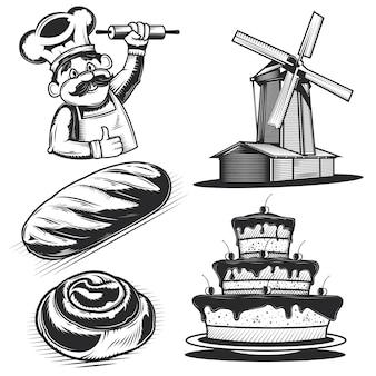 Conjunto de elementos y productos de panadería.