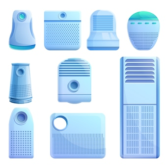 Conjunto de elementos purificadores de aire, estilo de dibujos animados