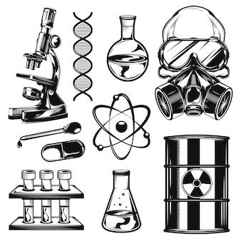 Conjunto de elementos de química.