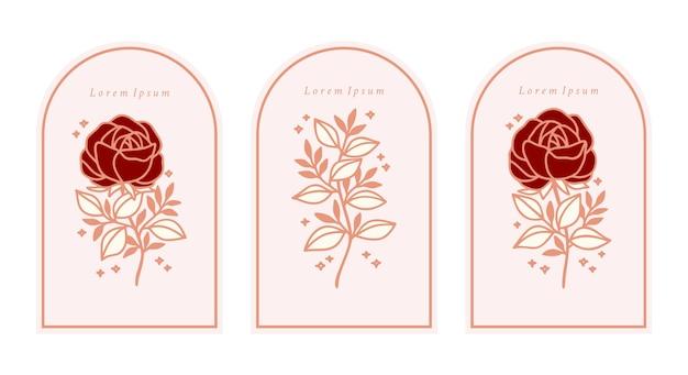 Conjunto de elementos de rama de hoja y flor rosa botánica rosa vintage dibujados a mano