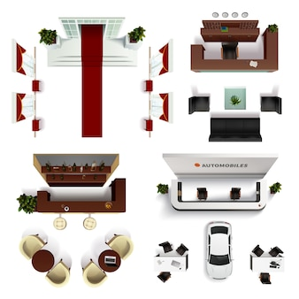 Conjunto de elementos realistas interiores vista superior ilustración vectorial aislada de hall