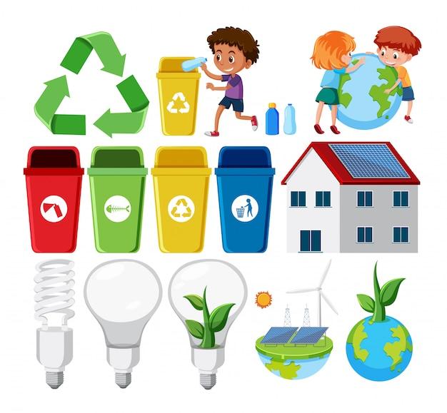 Conjunto de elementos de reciclaje