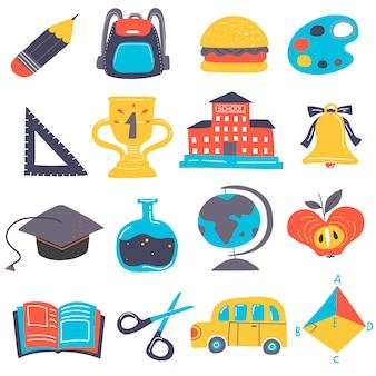 Conjunto de elementos de regreso a la escuela