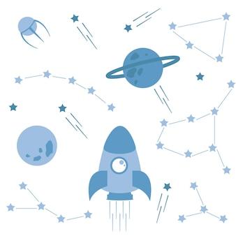 Conjunto de elementos relacionados con el espacio. cohetes y satélites, constelaciones y estrellas, planetas.