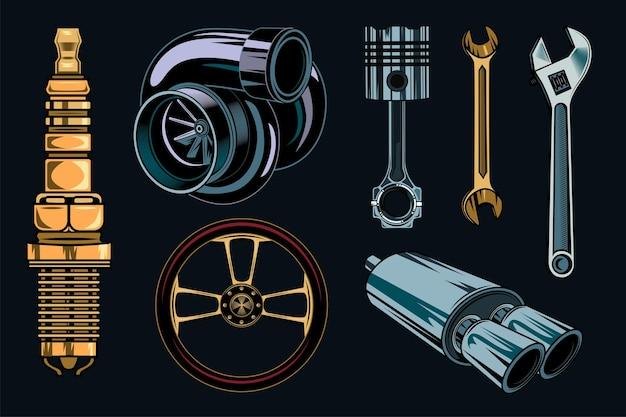 Conjunto de elementos de reparación de coches antiguos