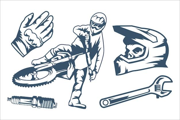 Conjunto de elementos retro de motocross