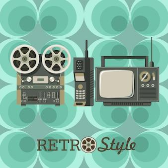 Un conjunto de elementos retro vintage.