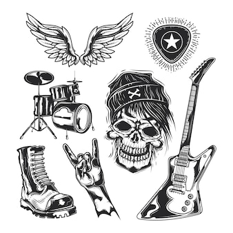 Conjunto de elementos de rock (calavera, bota, batería, alas, guitarra, púas)