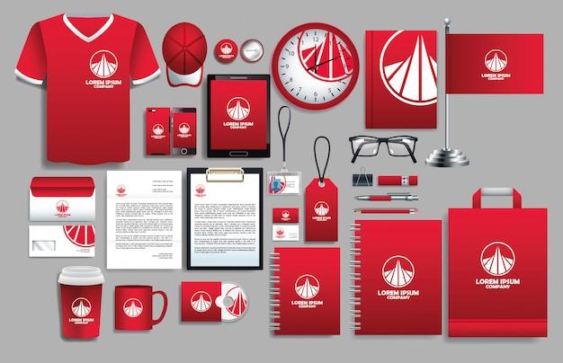 Conjunto de elementos rojos con plantillas de papelería