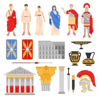 Conjunto de elementos de la roma imperial