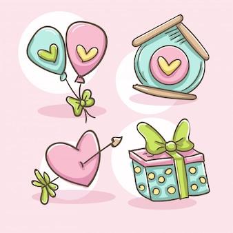 Conjunto de elementos románticos corazón con flecha, globos, pajarera y caja de regalo.
