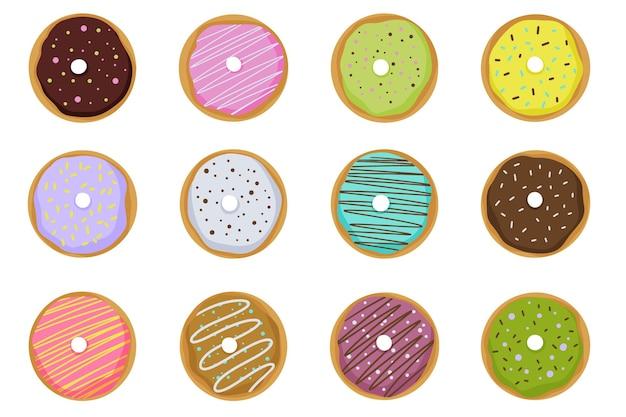 Conjunto de elementos de rosquilla, estilo de dibujos animados. ilustración de vector aislado sobre fondo blanco.