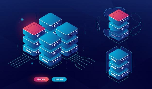 Conjunto de elementos de sala de servidores, procesamiento de datos grandes isométricos, concepto de base de datos del centro de datos