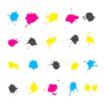 Conjunto de elementos de salpicaduras de tinta en un esquema de color cmyk aislado sobre fondo blanco. manchas de colores y borrones f
