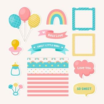 Conjunto de elementos de scrapbook de baby shower
