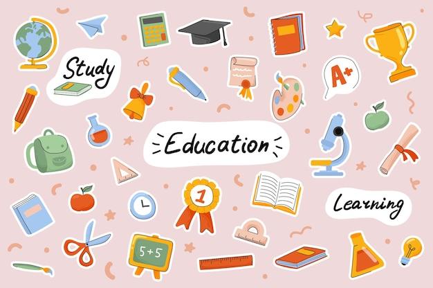 Conjunto de elementos de scrapbooking de plantilla de pegatinas lindas de escuela y educación