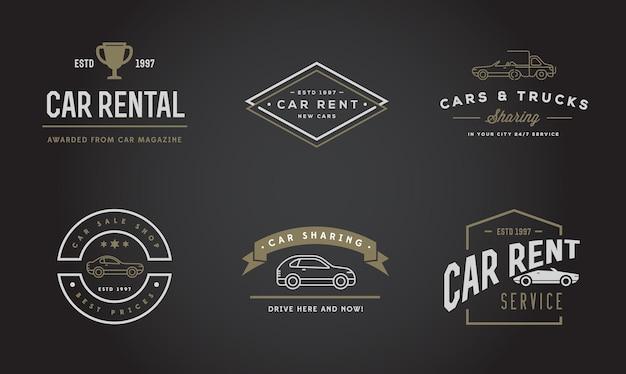 Conjunto de elementos de servicio de alquiler de coches