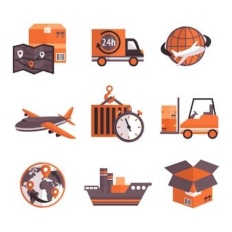 Conjunto de elementos de servicios logísticos.