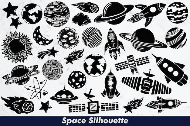 Conjunto de elementos de silueta espacial