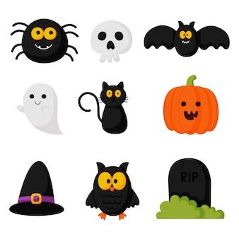 Conjunto de elementos simples de dibujos animados de feliz halloween aislado sobre fondo blanco.