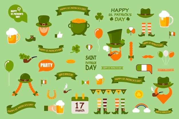 Conjunto de elementos sobre un fondo verde. el día de san patricio se celebra en irlanda. un conjunto de plantillas de elementos temáticos.