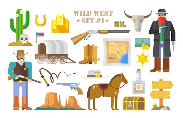 Conjunto de elementos sobre el tema del salvaje oeste. vaqueros. la vida en el salvaje oeste. el desarrollo de américa. estilo plano moderno parte uno.