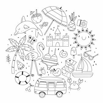 Conjunto de elementos sobre el tema del verano y la playa en forma de círculo en estilo doodle de dibujos animados