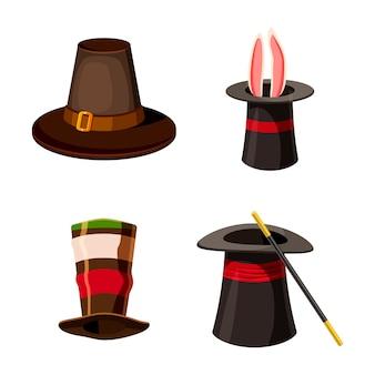 Conjunto de elementos de sombrero de copa. conjunto de dibujos animados de sombrero de copa