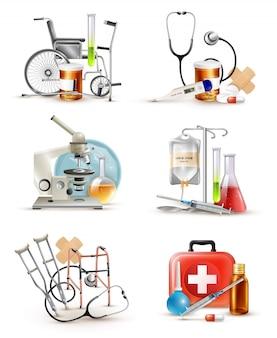 Conjunto de elementos de suministros médicos