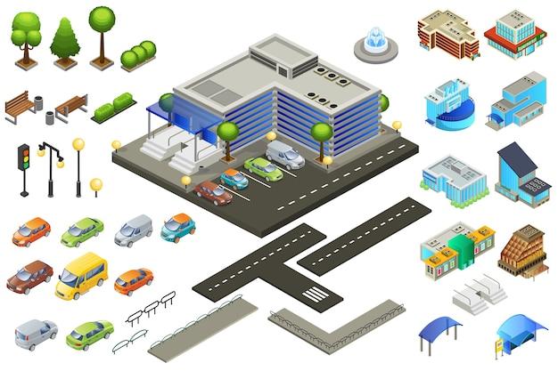 Conjunto de elementos de supermercado isométrico
